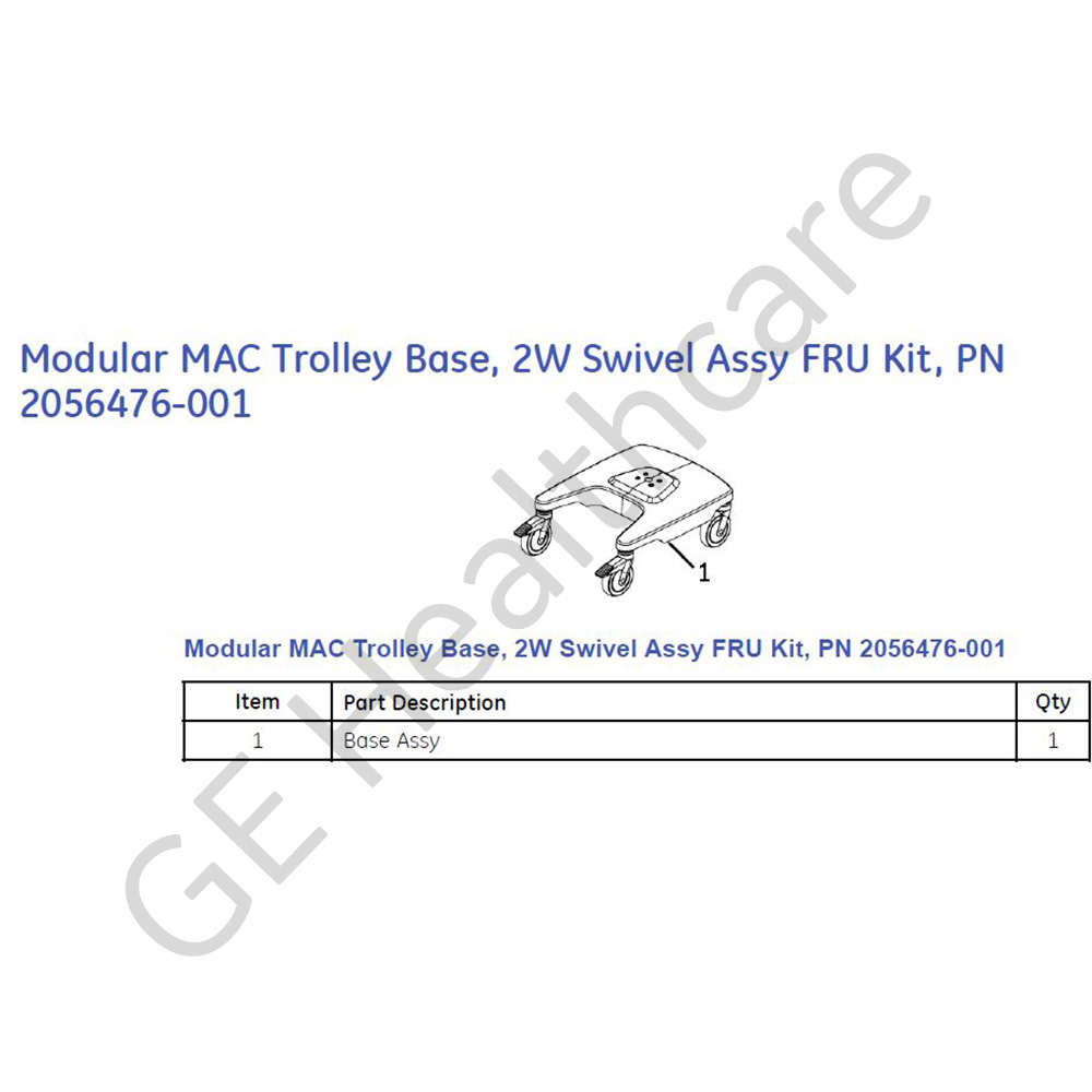 MAC 5500/3500 Trolley Base Assembly with 2 Swivel Wheels