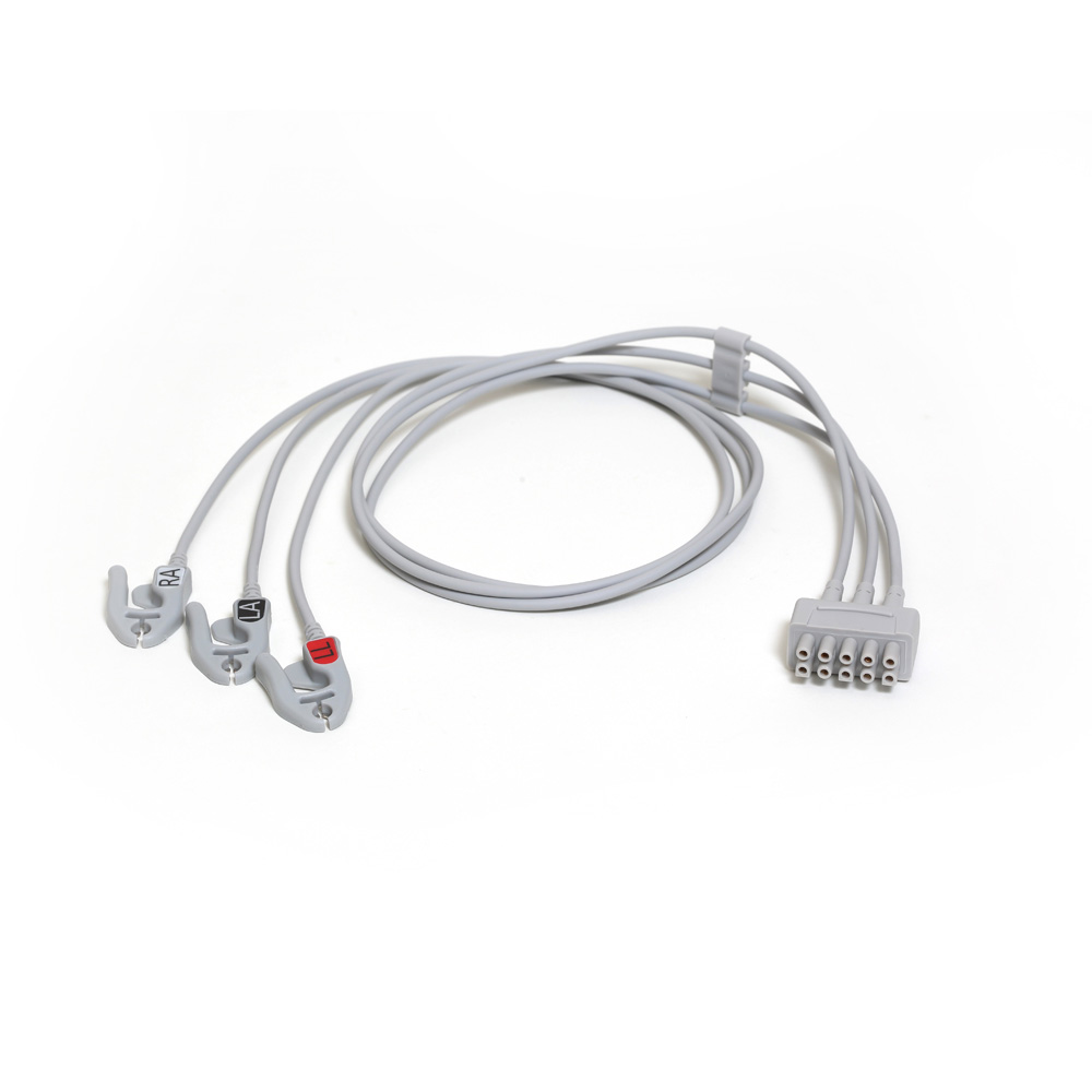 ECG Leadwire set, 3-lead, grabber, AHA, 74 cm/29 in