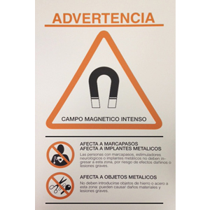MR Warning Sign – Large (12 × 19 in), Spanish